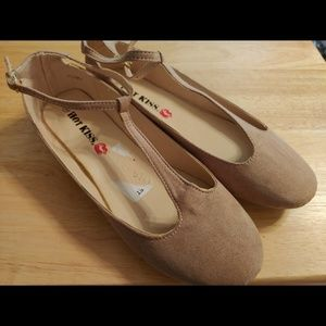 Hot Kiss Taupe Poppy T-Strap Ballet Flat